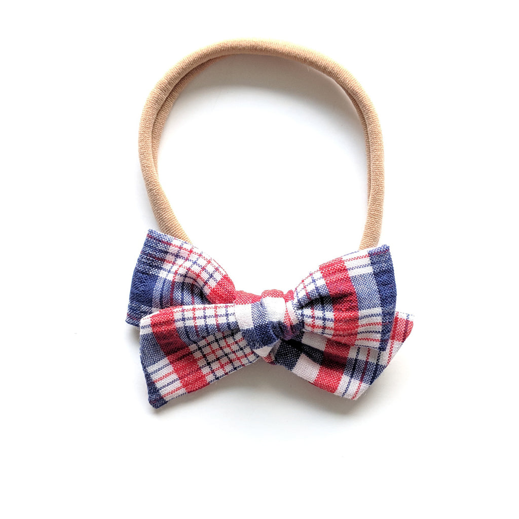 Patriotic Plaid :: Mini Voyager Bow