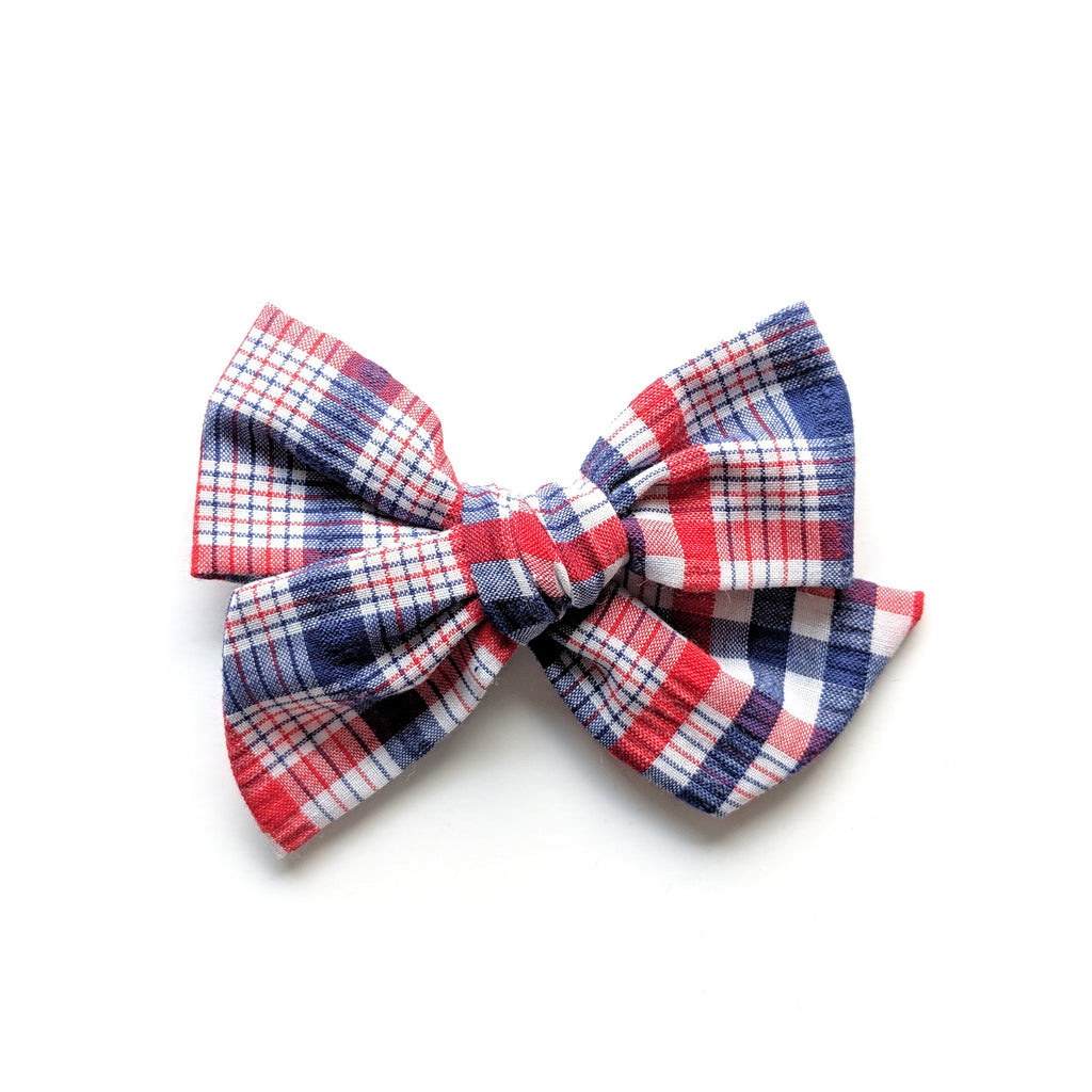 Patriotic Plaid :: Voyager Bow