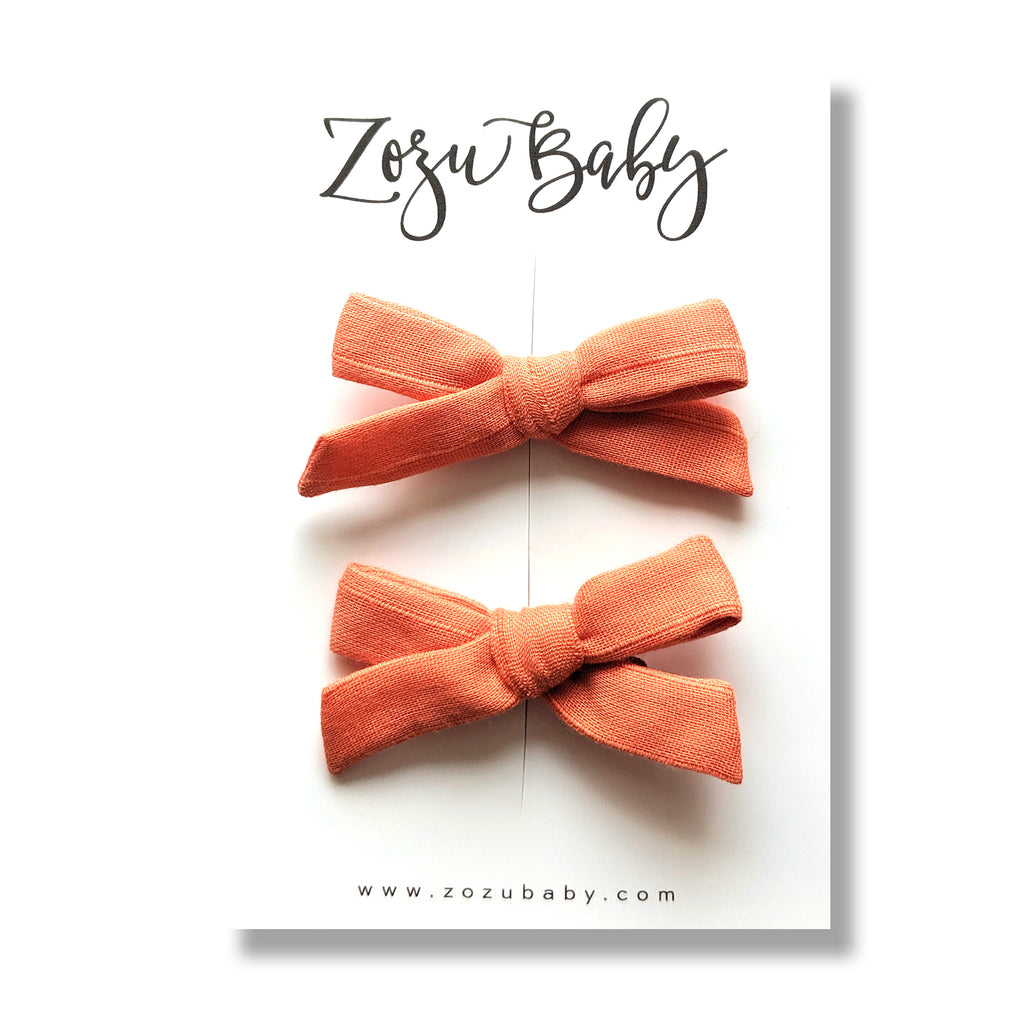 Peach Pinstripe :: Mini Explorer Pigtail Set