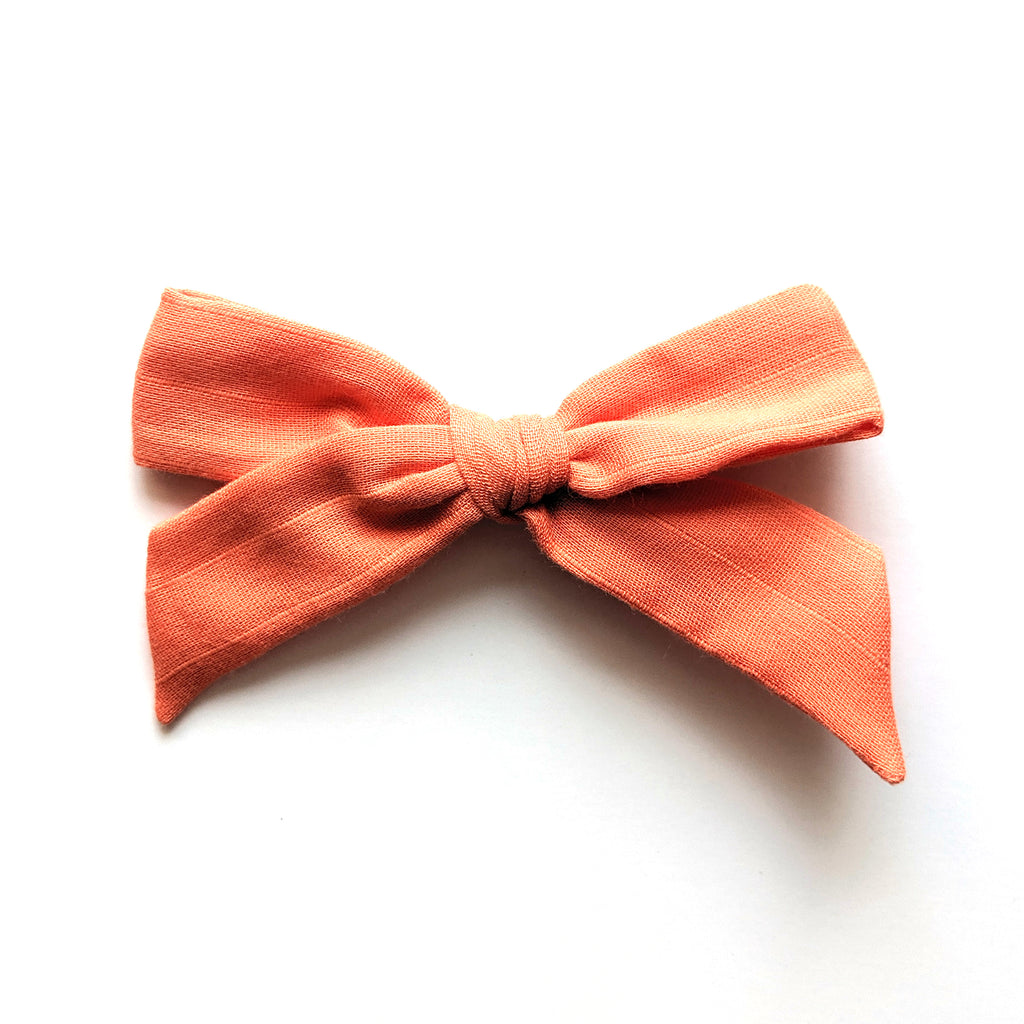 Peach Pinstripe :: Oversized Explorer Bow