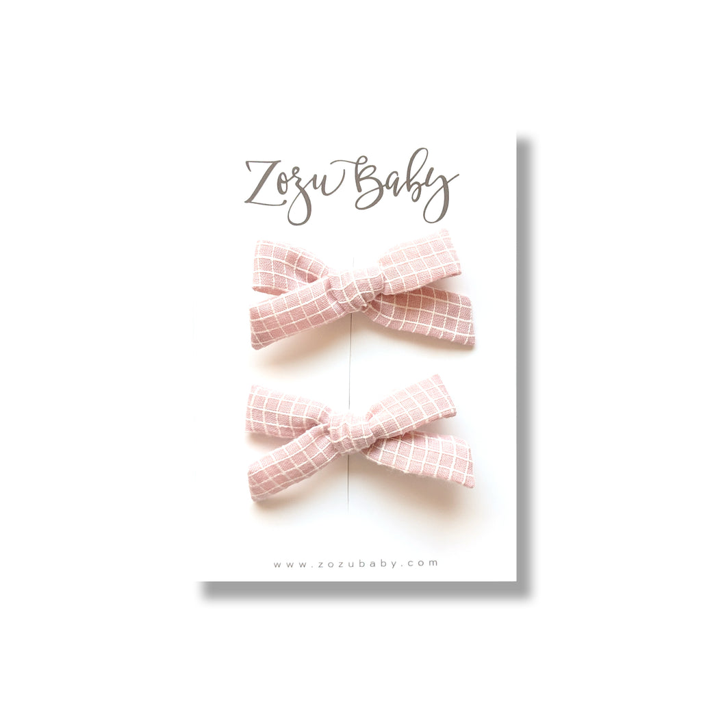 Soft Pink Grid :: Mini Explorer Pigtail Set