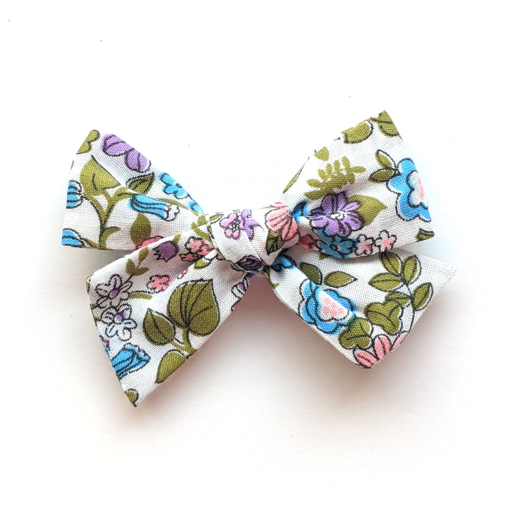 Purple and Blue Floral :: Mini Voyager Bow