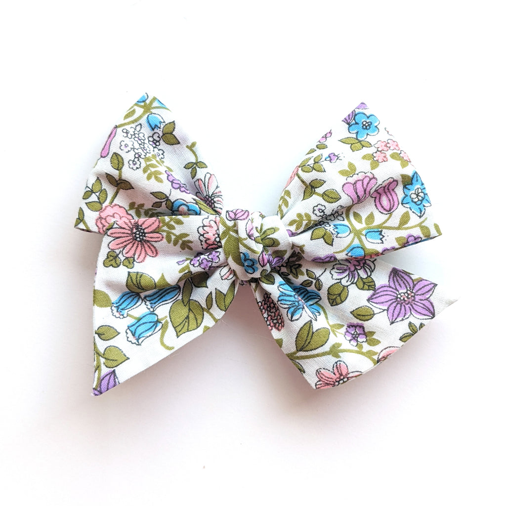 Purple and Blue Floral :: Voyager Bow