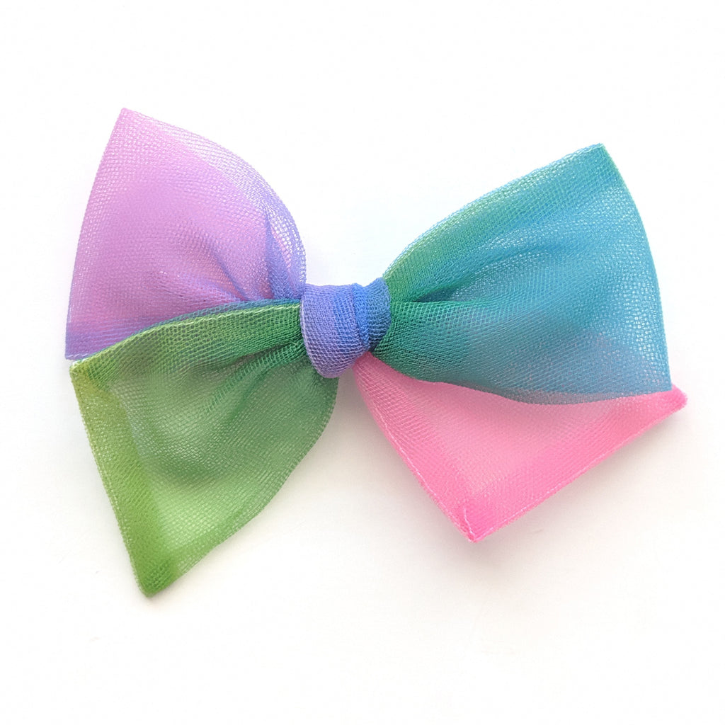 Rainbow Color Block Tulle :: Voyager Bow