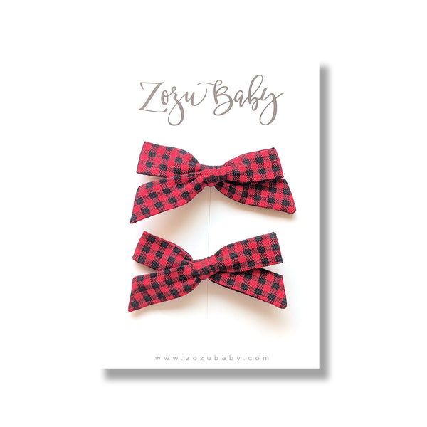 Red Buffalo Plaid :: Mini Explorer Pigtail Set