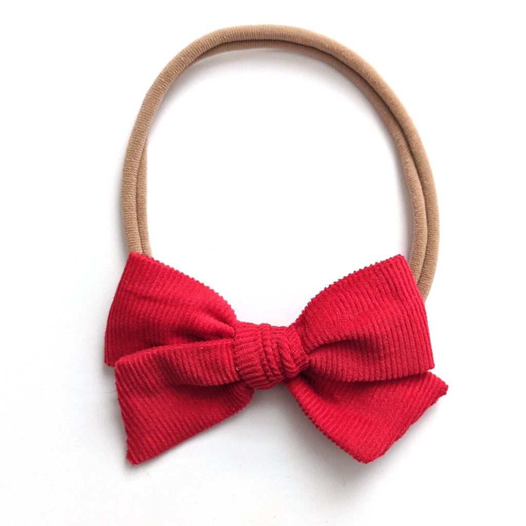 Red Corduroy :: Mini Voyager Bow
