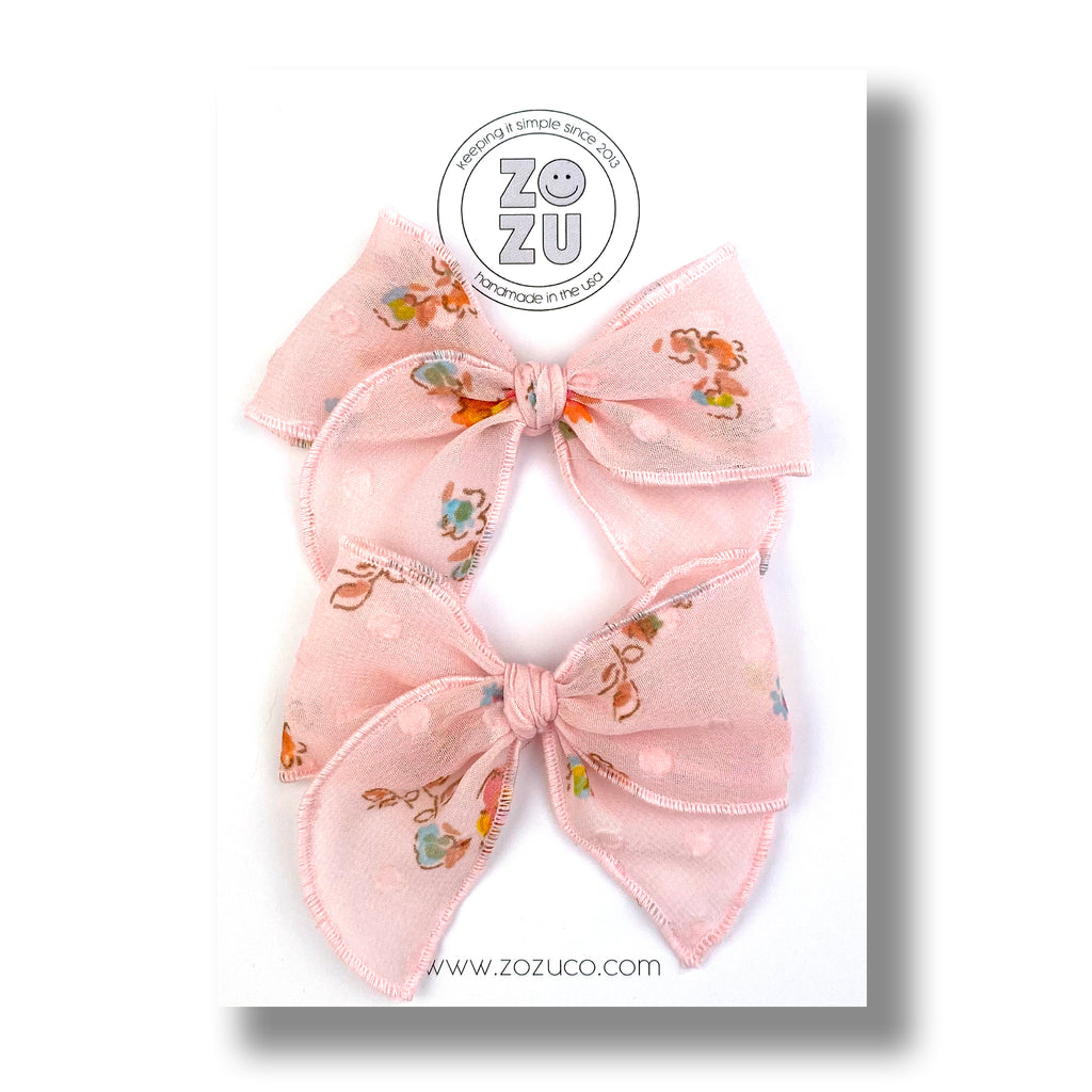 Soft Pink Floral Organza :: Mini Traveler Pigtail Set