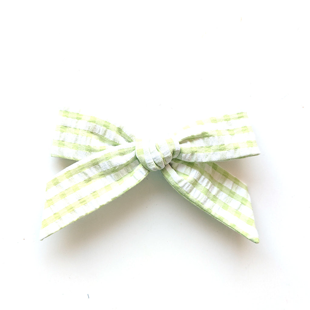 Springtime Gingham in Green :: Oversized Explorer Bow