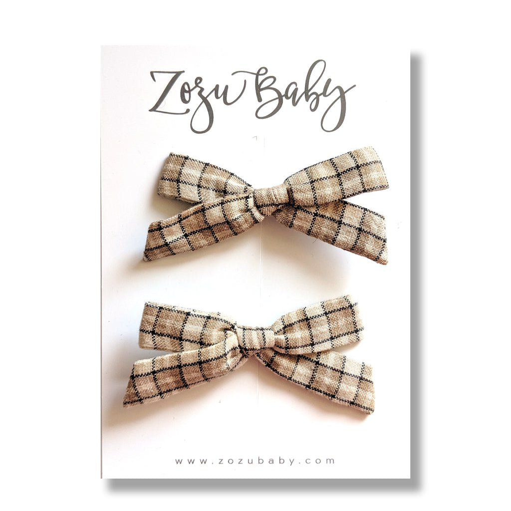 Tan Plaid :: Mini Explorer Pigtail Set