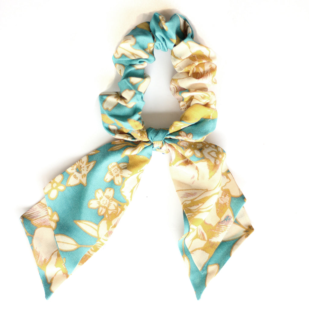 Turquoise Floral :: Pioneer Scrunchie