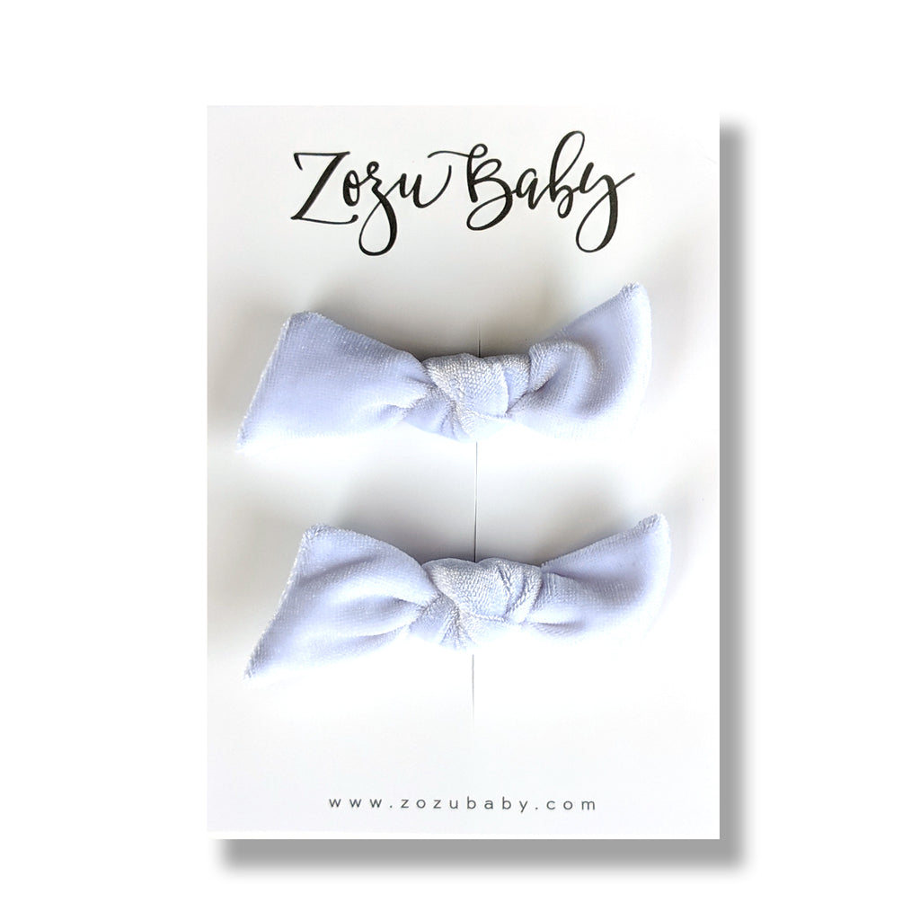 Bright White Velvet :: Knot Pigtail Set