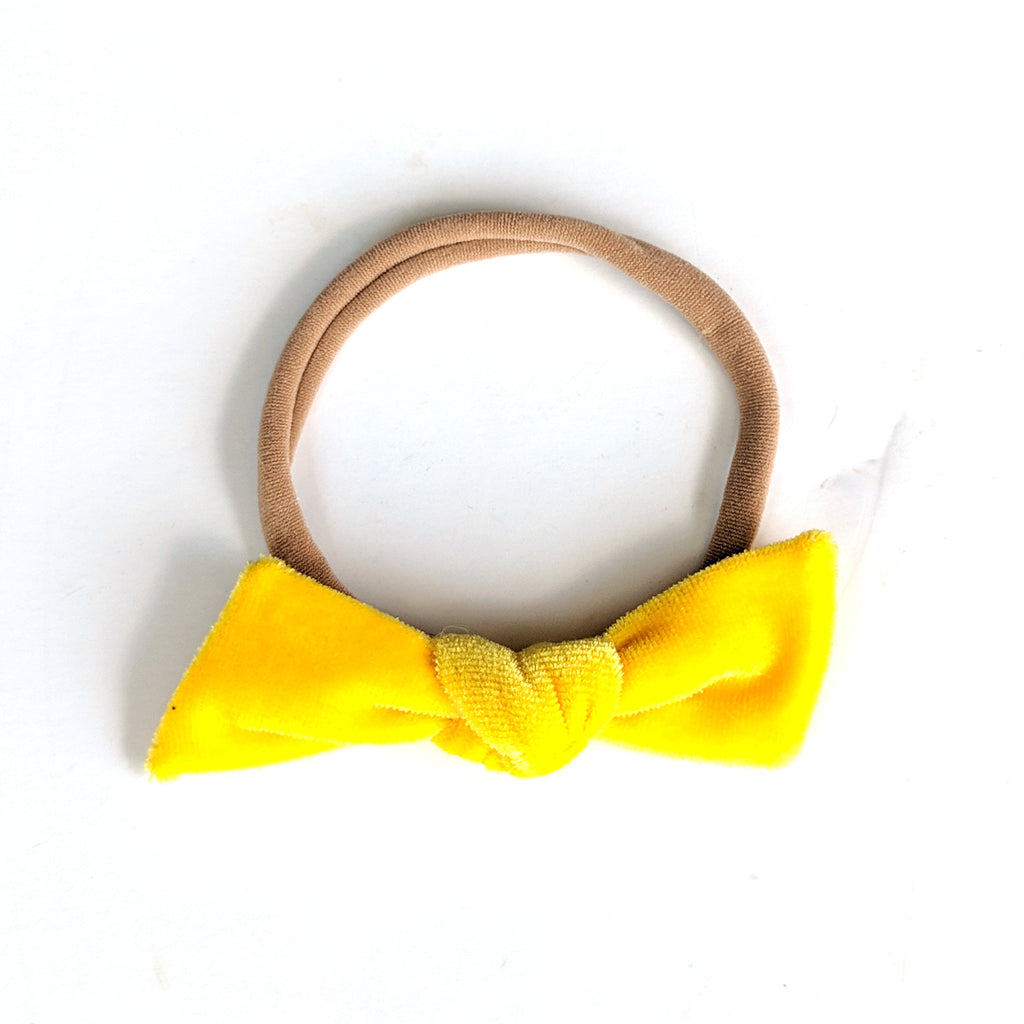 Sunshine Yellow Velvet :: Knot Bow