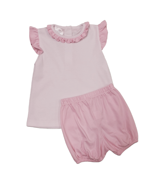 Beverly Hills Bloomer Set- White/Pink