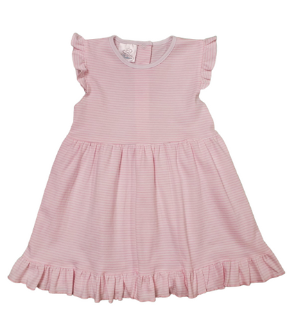Riviera Ruffle Dress- SS Pink Stripe