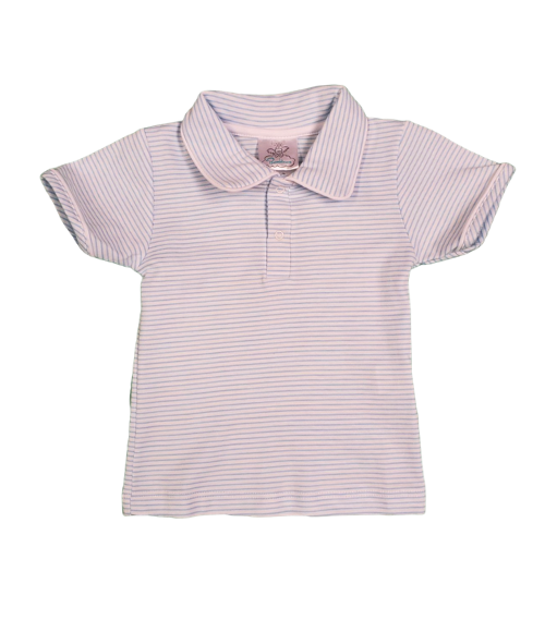 Bambinos Pinehurst Polo- Blue Stripe Piped