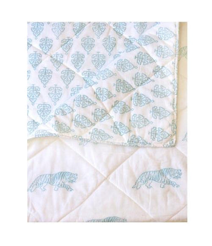 Kantik Crib/Toddler Sheet - Aqua Bengal Tiger