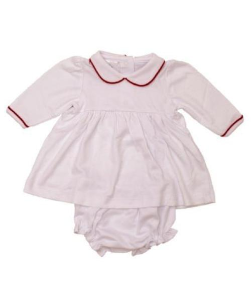 Bambinos Trinity Twirl Dress Set - LS White/Red