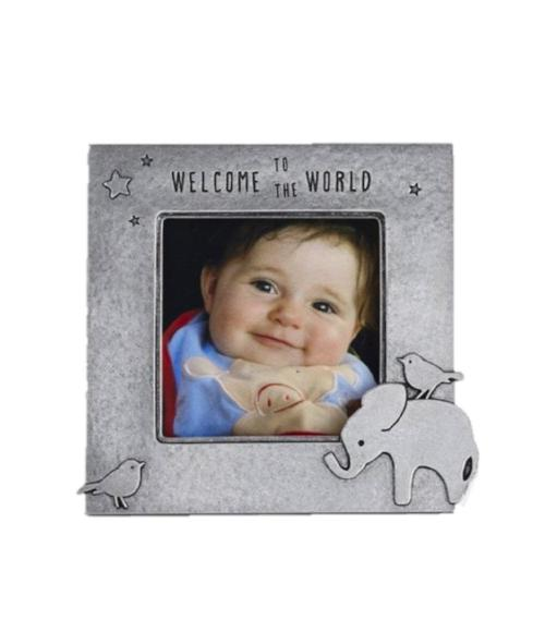 Elephant 2x2 Pewter Picture Frame