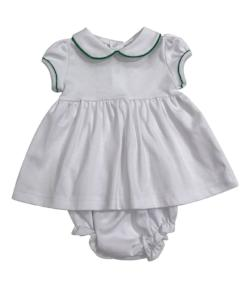 Bambinos Trinity Twirl Dress Set - White/Green