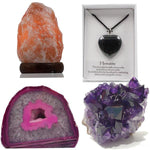 Crystal Geodes, Lamps and Jewelry