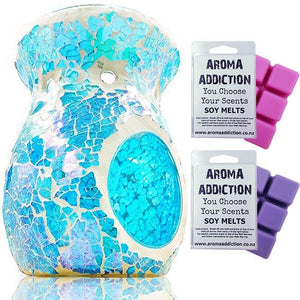 Aqua Blue Mosaic Melt Burner Melt Pack Combo melt burners Aroma Addiction