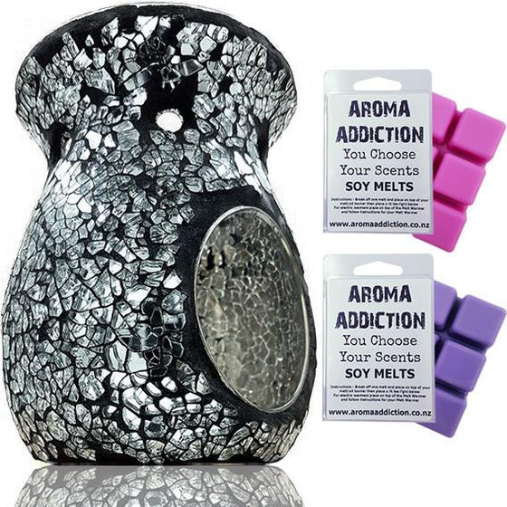 Black and Silver Mosaic Melt Burner Melt Pack Combo