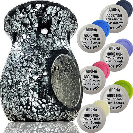 Black and Silver Mosaic Melt Burner Shot Pot Combo