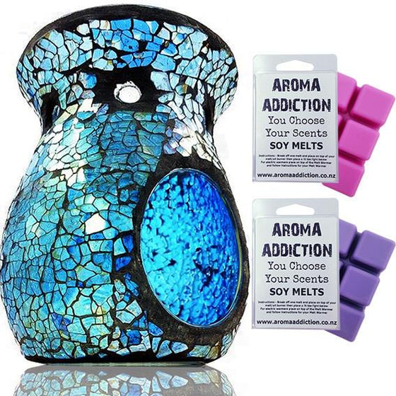 Blue and Silver Mosaic Melt Burner Melt Pack Combo