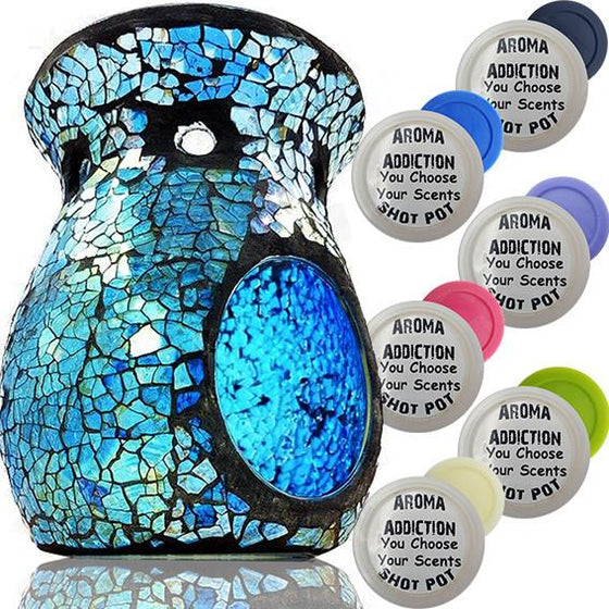 Blue and Silver Mosaic Melt Burner Shot Pot Combo