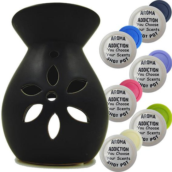 Floral - Black Melt Burner Shot Pot Combo - melt burners - Aroma Addiction- - 1