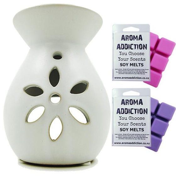 Floral - White Melt Burner Melt Pack Combo - melt burners - Aroma Addiction- - 1