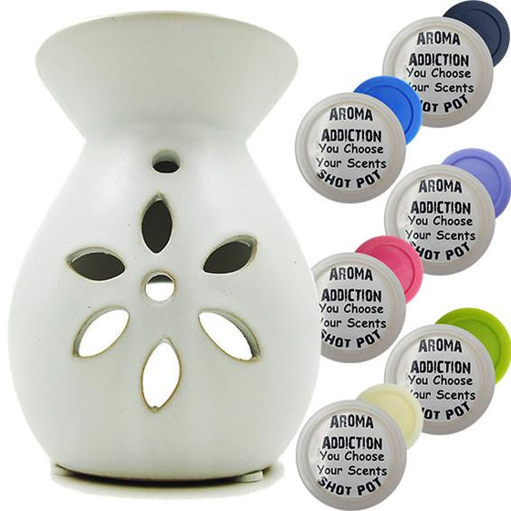 Floral - White Melt Burner Shot Pot Combo - melt burners - Aroma Addiction- - 1