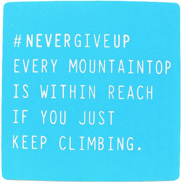 #nevergiveup Inspirational Fridge Magnet