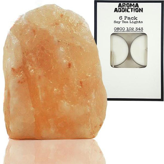 Himalayan Salt Tea Light Holder & 6 Pack of Soy Tea Lights