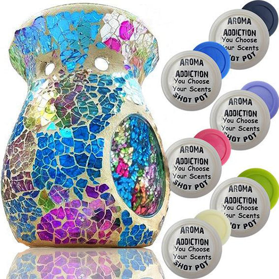 Over The Rainbow Mosaic Melt Burner Shot Pot Combo