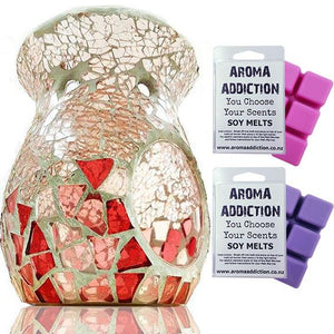 Pink Crackle Base Mosaic Melt Burner Melt Pack Combo melt burners Aroma Addiction