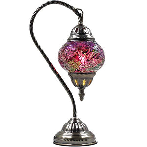Turkish Mosaic Lamp - Swan Neck - Pink Moon