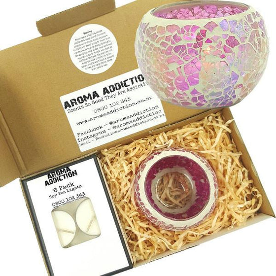 Pink Bubble Mosaic Tea Light Holder Pack  Aroma Addiction