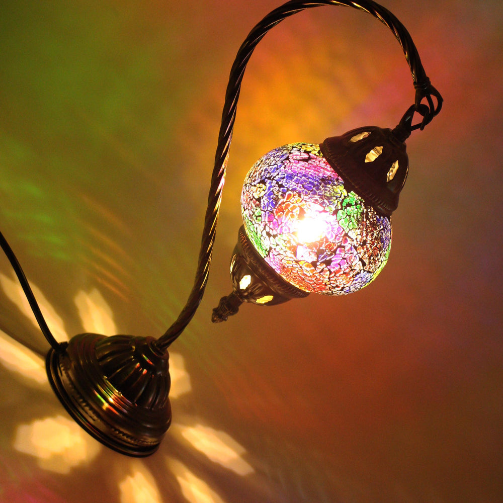 Turkish Mosaic Lamp - Swan Neck - Rainbow