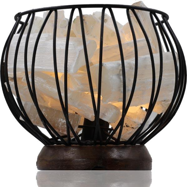 Selenite Crystal Cage Lamp