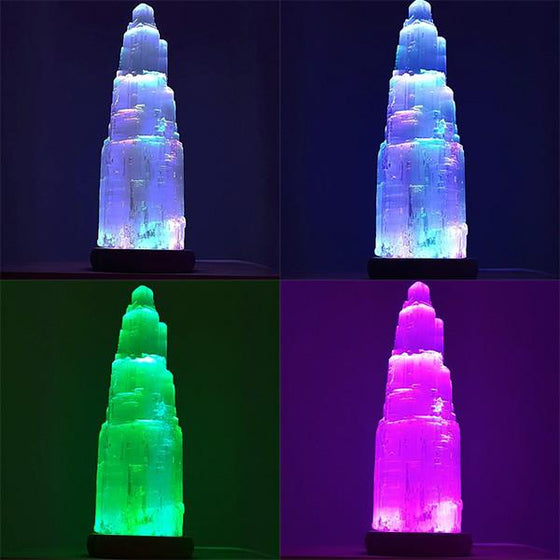 Elsa Large Color Changing LED Selenite Lamp (35cm tall)