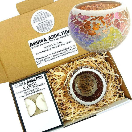 Amber Mosaic Tea Light Holder Pack