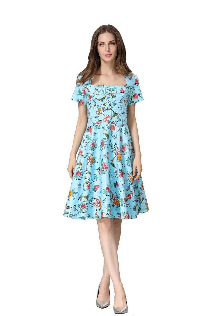Beautiful Blue with Floral Birds Folded Collar A Line Dress with Pockets Vintage Dress Australia 9352589008610