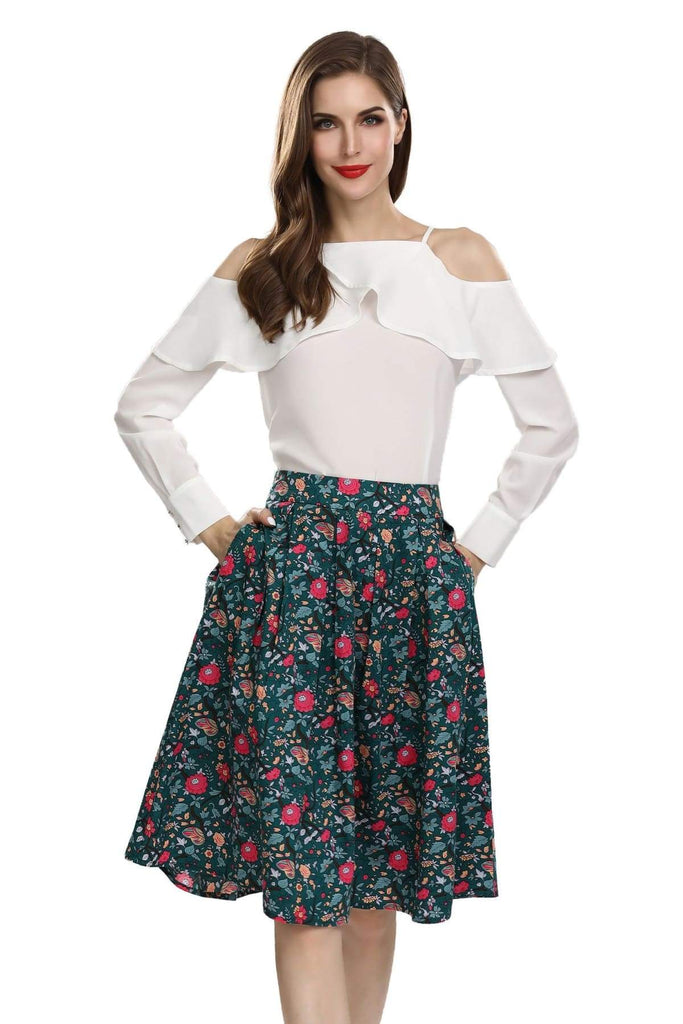 Beautiful Dark Green Box Pleated Vine Bright Red Flower Skirt with Pockets