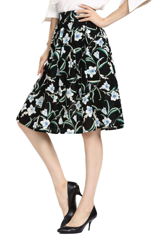 Black with Beautiful White and Blue Lily Box Pleated Skirt with Pockets Vintage Dress Australia 9352589009686