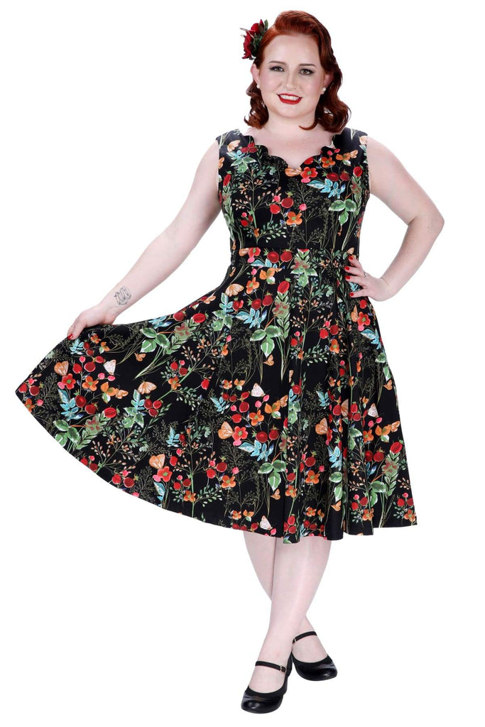 Black with Berry Flower and Butterfly Scallop Neckline A Line Dress