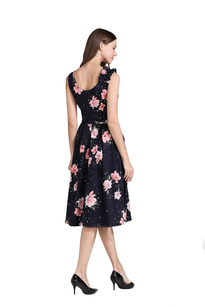 Black Crossover V Neckline with Blooming Pink Peonies A Line Dress with Pockets