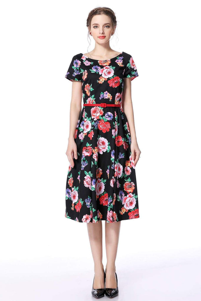 Black Floral Garden Scoop Neck Vintage Dress Vintage Dress Australia 9352589000089