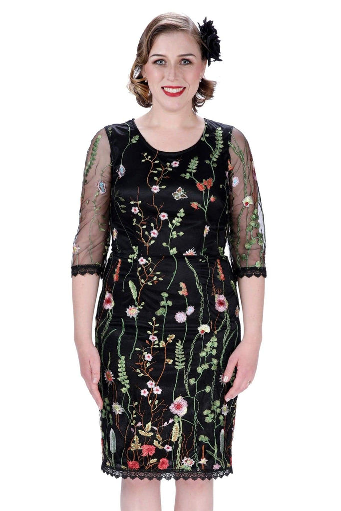Black Lace Mesh Intricate Floral Embroidered Body Con Dress with Sleeves Vintage Dress Australia 9352589007828