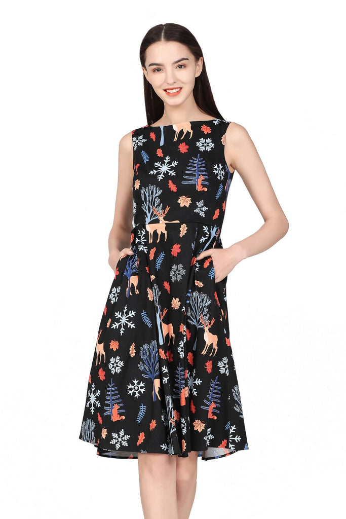 Black Night Forest Boat Neck A-Line Cotton Dress with Pockets Vintage Dress Australia 9352589014406